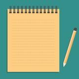 Il taccuino può tagliuzzare e disegnare a matita l'annata Fotografia Stock Libera da Diritti