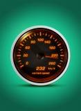 Il tachimetro isolato mostra alla velocità corrente di 232 chilometri un noioso Fotografia Stock