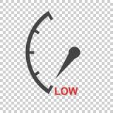 Il tachimetro, tachimetro, rifornisce l'icona di combustibile a basso livello illust piano di vettore Fotografia Stock