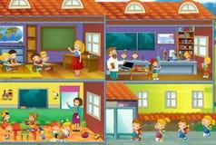 Il taglio attraverso l'illustrazione - illustrazione di casa per i bambini Fotografia Stock Libera da Diritti