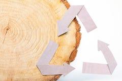 Il taglio di legno del primo piano e ricicla il simbolo Fotografia Stock Libera da Diritti