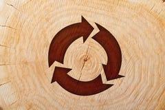 Il taglio di legno del primo piano e ricicla il simbolo Fotografie Stock Libere da Diritti