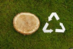 Il taglio di legno su erba e ricicla il simbolo Immagini Stock Libere da Diritti