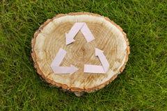 Il taglio di legno su erba e ricicla il simbolo Fotografia Stock Libera da Diritti