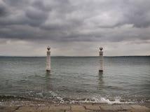 Il Tago vicino al quadrato di Comercio - Lisbona fotografia stock libera da diritti