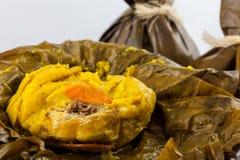 Il tamale colombiano tradizionale come fatto sulla regione di Tolima ha isolato la o immagini stock
