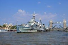 Il Tamigi, Londra, ponte della torre, HMS Belfast, torre di Londra Immagine Stock Libera da Diritti