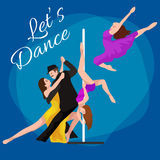 Il tango di dancing dell'uomo e della donna delle coppie di Yong con passione, ballerini di tango vector l'illustrazione su latin Immagini Stock Libere da Diritti