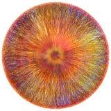 Il tappeto lanuginoso rotondo con il lerciume del tessuto ha barrato il modello variopinto centrifugo illustrazione vettoriale