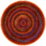 Il tappeto rotondo lanuginoso del tessuto con il lerciume ha barrato il modello variopinto ondulato circolare royalty illustrazione gratis