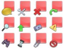 Il tasto di Web ha quadrato il colore rosso (01) Fotografia Stock Libera da Diritti