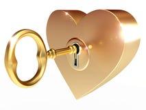 Il tasto dorato apre il cuore Immagine Stock