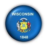 Il tasto rotondo S.U.A. indica la bandierina di Wisconsin Fotografia Stock Libera da Diritti