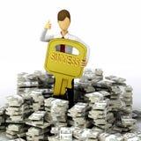 Il tasto a successo finanziario Immagini Stock