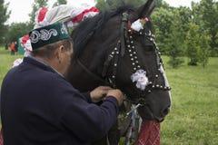Il Tatarstan, Russia il cavallo in cablaggio festivo sfruttato ad un carretto Sul carretto sieda un tipo con una ragazza Sabantuy Fotografia Stock