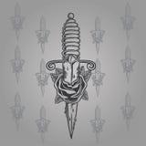 Il tatuaggio del coltello ed è aumentato Immagine Stock