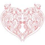 Il tatuaggio del cuore di amore di Swirly dei biglietti di S. Valentino ha ispirato la carta del ritaglio Immagini Stock