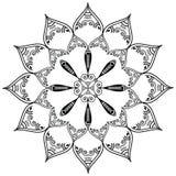 Il tatuaggio indiano del hennè e della cultura ha ispirato la forma del fiore con gli elementi lunghi nel mezzo Fotografia Stock