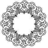 Il tatuaggio indiano del hennè ha ispirato la corona di forme del cuore con il tipo 1 dell'elemento delle foglie Immagini Stock