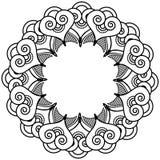Il tatuaggio indiano del hennè ha ispirato la corona di forme del cuore con il tipo di elemento delle foglie - 2 Immagini Stock