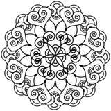 Il tatuaggio indiano del hennè ha ispirato la forma del fiore con l'elemento floreale interno della stella Immagini Stock Libere da Diritti
