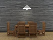 Il tavolo da pranzo e la sedia interni in 3D di legno rendono l'immagine Immagini Stock