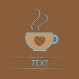Il tazza da the con caffè semina il cuore. Carta di amore Immagine Stock