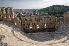 Il teatro antico dell'attico di Herodes è una piccola costruzione della Grecia antica usata per le prestazioni pubbliche di music immagine stock