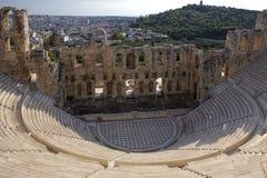 Il teatro antico dell'attico di Herodes è una piccola costruzione della Grecia antica usata per le prestazioni pubbliche di music fotografia stock libera da diritti