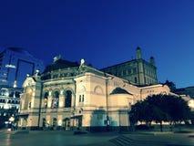 Il teatro dell'opera alla notte - UCRAINA di Kyv fotografia stock