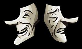 Il teatro maschera la commedia ed il dramma Immagini Stock