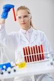 Il tecnico chimico serio tiene le provette con liquido rosso Fotografia Stock