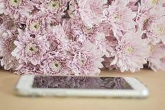 Il telefono cellulare con il rosa fiorisce il fondo Fotografie Stock Libere da Diritti