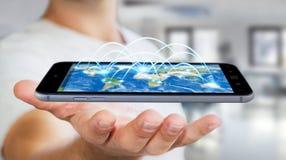 Il telefono cellulare della tenuta dell'uomo d'affari con collegamento a Internet 3D ren Immagini Stock Libere da Diritti