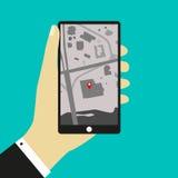 Il telefono con la mappa Fotografia Stock Libera da Diritti
