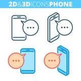 Il telefono mobile Insieme piano ed isometrico dell'icona del profilo 3d Immagine Stock Libera da Diritti