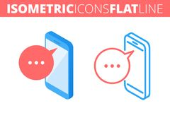 Il telefono mobile Isometrico, piano 3d ed insieme dell'icona del profilo Fotografia Stock