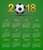 Il tema 2018, pallone da calcio posteriore di calcio del calendario di Deutsch della tela calen Immagini Stock Libere da Diritti