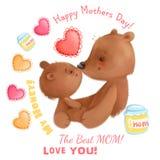 Il tema sveglio del giorno di madre degli orsi con i dettagli gradisce i cuori, insieme di clipart del miele illustrazione di stock