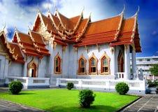 Il tempiale di marmo Bangkok Tailandia Fotografie Stock