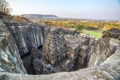 Il tempio di Kailas in Ellora scava il complesso in India Immagine Stock Libera da Diritti