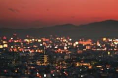 Il tempio di toji e la sua pagoda nel tramonto sulla città di Kyot immagine stock