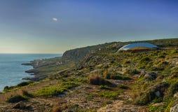Il tempio megalitico di Mnajdra a Malta fotografia stock libera da diritti
