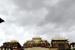 Il tempio solenne del monastero del pino in cui l'aquila ha circondato al di sopra fotografie stock libere da diritti