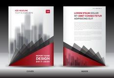 Il templater dell'aletta di filatoio dell'opuscolo di affari, la copertura del nero e di rosso progettano royalty illustrazione gratis
