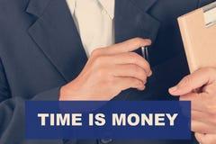 Il tempo è denaro citazioni - fondo dell'uomo di affari Fotografie Stock Libere da Diritti