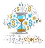 Il tempo è denaro icone insieme, allegoria di concetto, della clessidra e del dollaro di termine del temporizzatore dell'orologio royalty illustrazione gratis