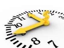 Il tempo è denaro. L'orologio di Golen con il dollaro canta su esso. Fotografia Stock