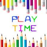 Il tempo del gioco indica il godimento ed il giovanotto dei bambini royalty illustrazione gratis