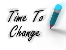Il tempo di cambiare con la matita visualizza il piano scritto per la revisione Fotografia Stock